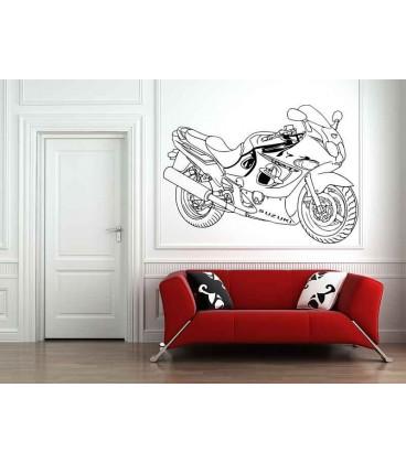 Suzuki super motorbike silhouette boys bedroom giant art wall sticker, motorbike wall decal.