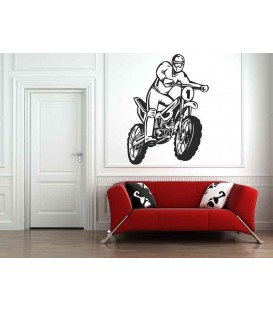 Motorbike and motorcyclist, teenager bedroom wall sticker.