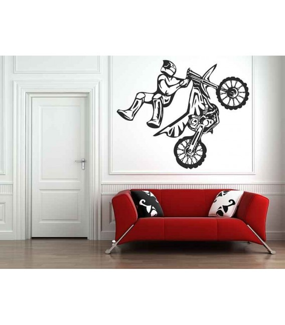 Off-road motorbike and motorcyclist, teenager bedroom wall art stickers.