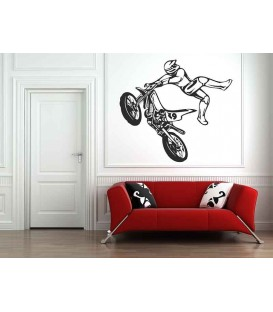 Off-road motorbike and jumping motorcyclist, teenager bedroom wall stickers.