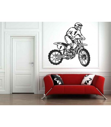 Off-road motorbike and motorcyclist, teenager bedroom art wall stickers.