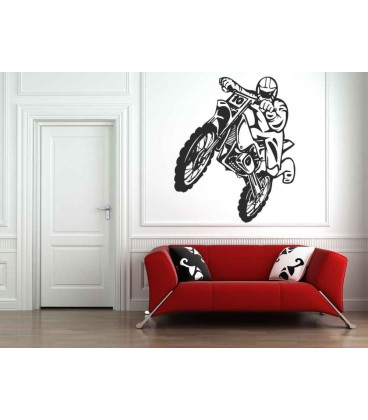 Jumping Off-road motorbike and motorcyclist, teenager bedroom art wall stickers.