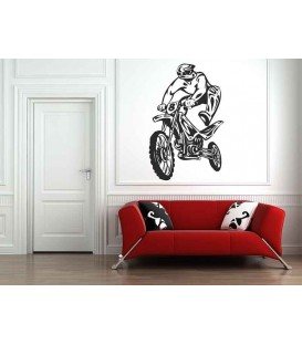 Motorcyclist jumps on the bike off-road, teenager bedroom art wall stickers