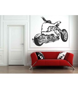 Long-haired motorcyclist on his motorcycle, teenager bedroom art wall stickers