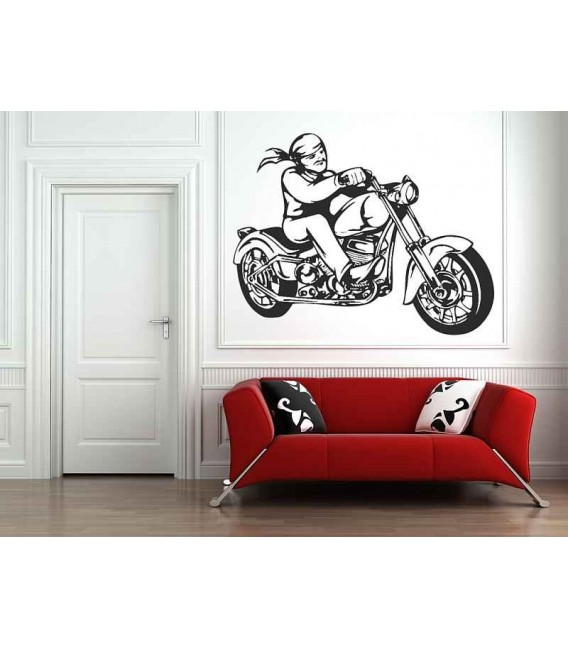Motorcyclist on his motorcycle in a kerchief, teenager bedroom art wall stickers