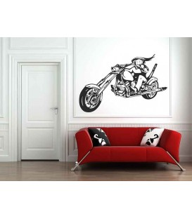 Long-haired motorcyclist on his motorcycle bedroom art wall sticker.