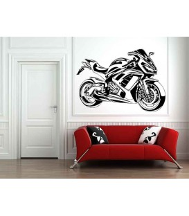 Motorbike and motorcyclist, boys bedroom wall art stickers.