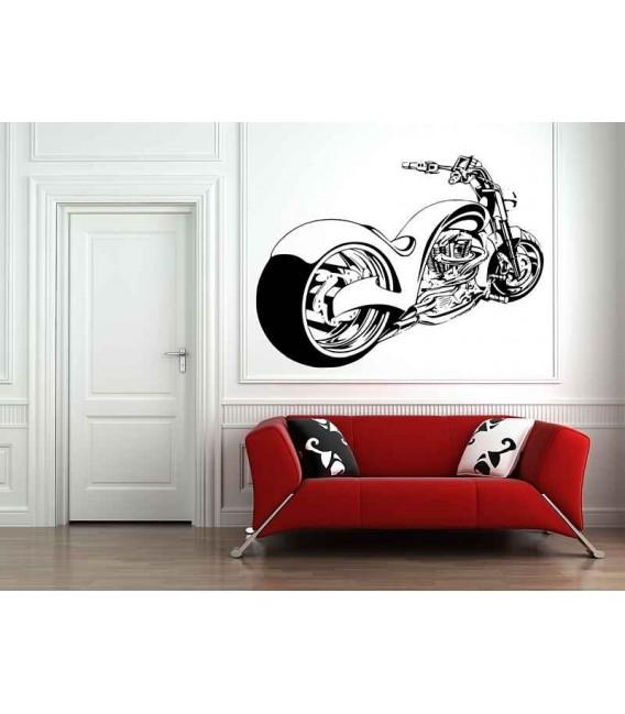 Chopper motorbike wall decal boys bedroom wall art sticker.
