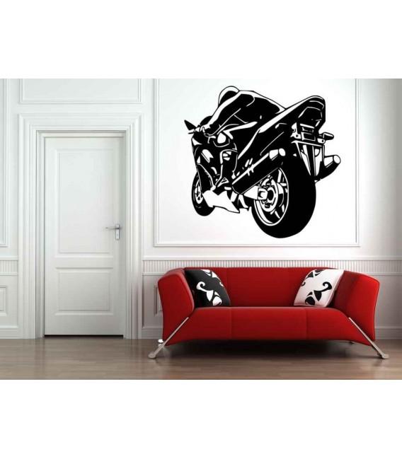 Super motorbike silhouette boys bedroom giant art wall sticker, motorbike wall decal pattern 2.