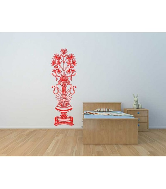 Big flower in the vase wall sticker living room decoration.
