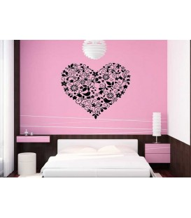 Flower heart wall decal, flower and birds wall sticker.