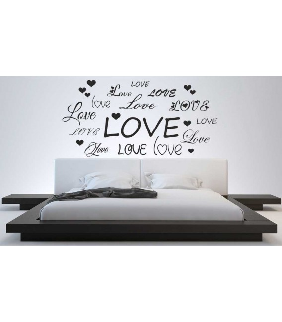 Love word and heart romantic wall art sticker, bedroom wall decals.