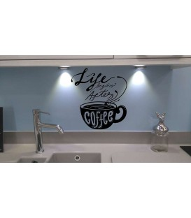 Life begins after coffee kitchen wall decal.