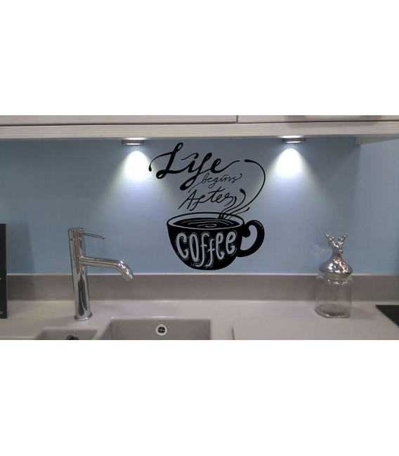 Life begins after coffee self-adhesive kitchen wall sticker
