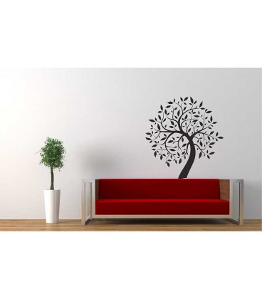 Tree with owl wall sticker for living room wall decoration, painting stencil.