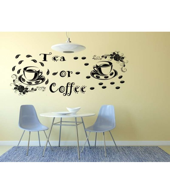 Tea or coffee self-adhesive kitchen wall art sticker.