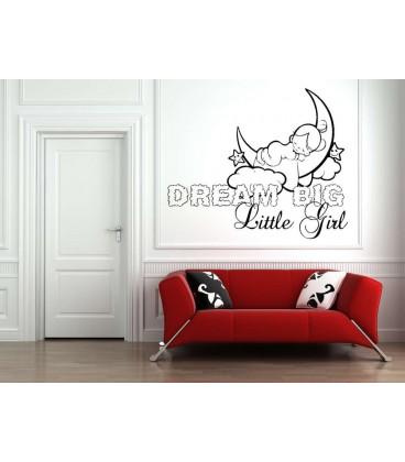 Dream little girl bedroom wall art sticker, girls bedroom wall decal.