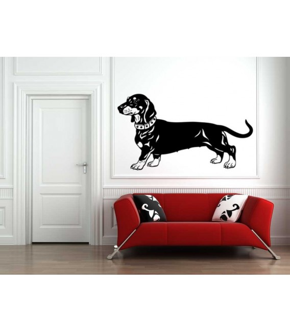Dachshund dog as bedroom wall sticker.