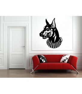 Doberman dog as bedroom wall sticker.