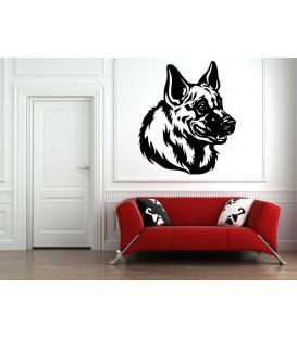 German Shepherd dog head as bedroom wall sticker.