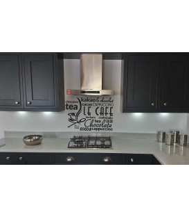 Tea Chocolate Coffee kitchen wall decal.