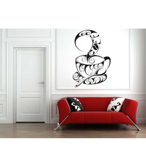Hot coffee cup, decorative wall art stickers.