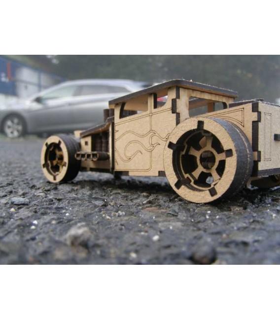 Boneshaker wooden sports car 3D Puzzle assembly kit.