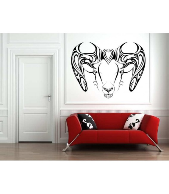 Aries zodiac sign wall sticker and description.