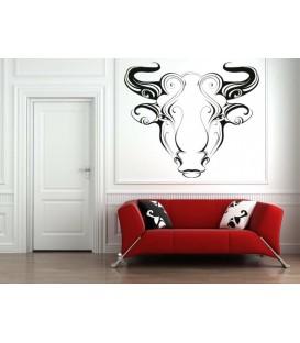 Taurus zodiac sign wall sticker and description.