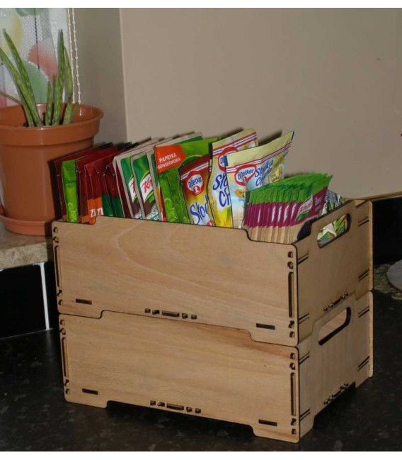 Stackable wooden box.