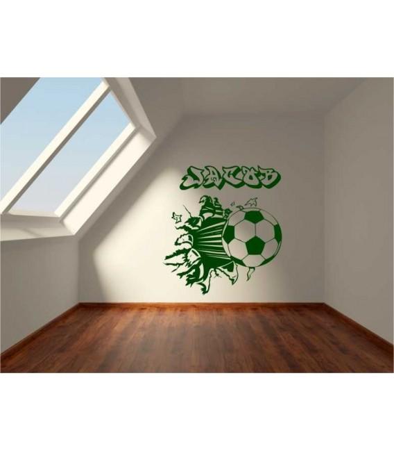 Football damaged wall, boys bedroom giant art wall sticker.