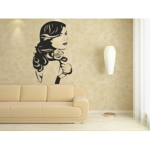 Beautiful women with rose wall art sticker.