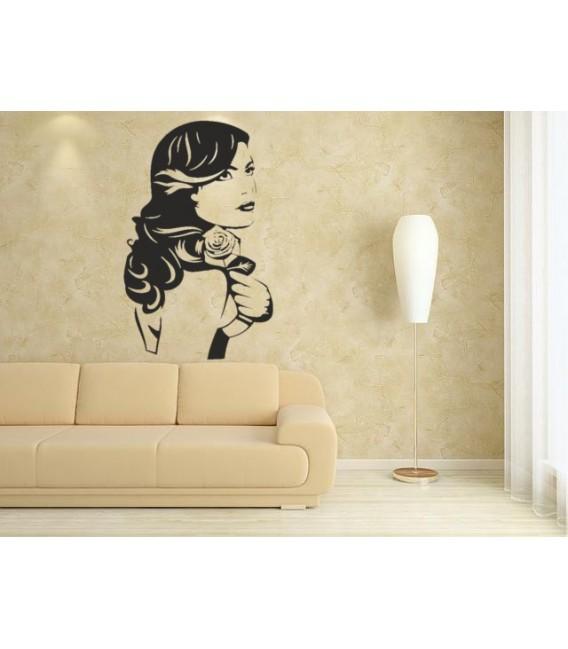 Beautiful women with rose wall art sticker.