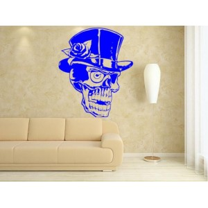 Skull in an elegant hat and rose  wall art sticker, wall decal.