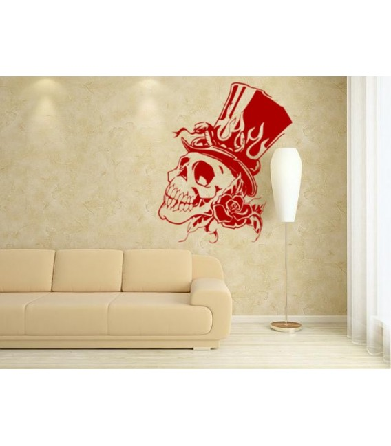 Skull in an elegant hat and snake  wall art stickers, wall decal.