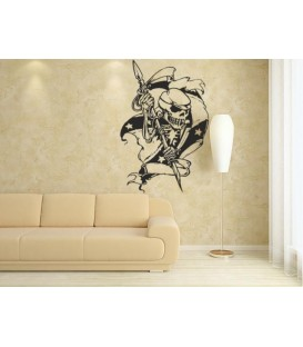 Skull with a spear of wall art sticker, skull wall decal.