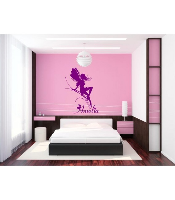 Fairy and butterflies wall sticker for girl bedroom.