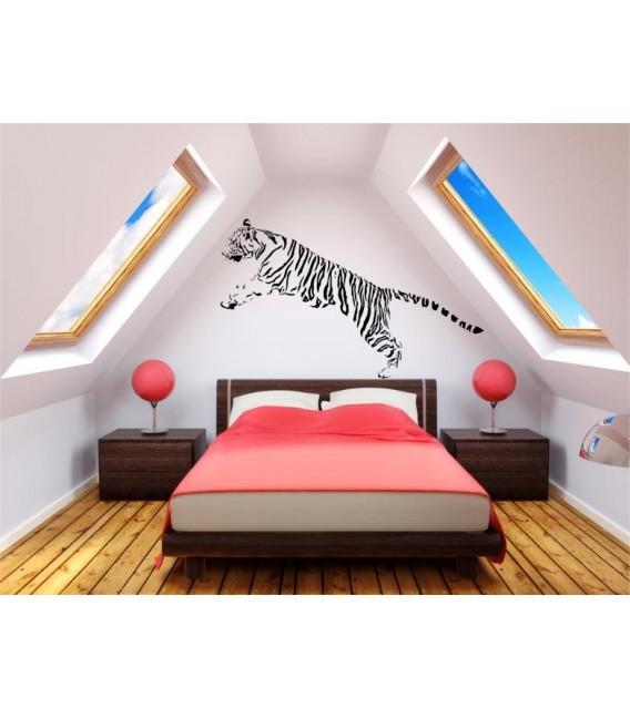 Jumping tiger animal predator wall art sticker.