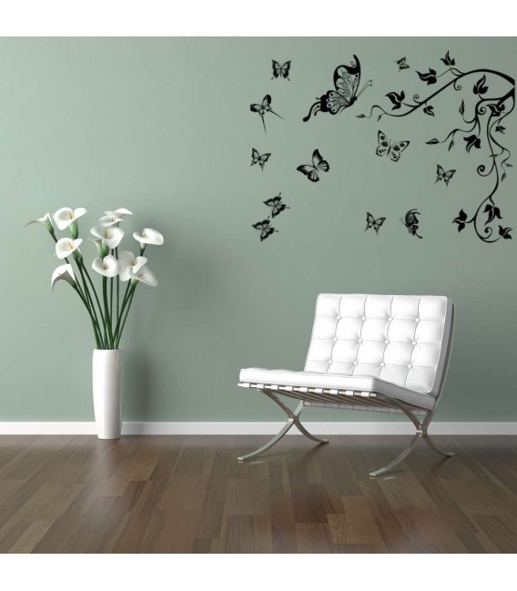 Butterflies and tree branch living room wall decal.