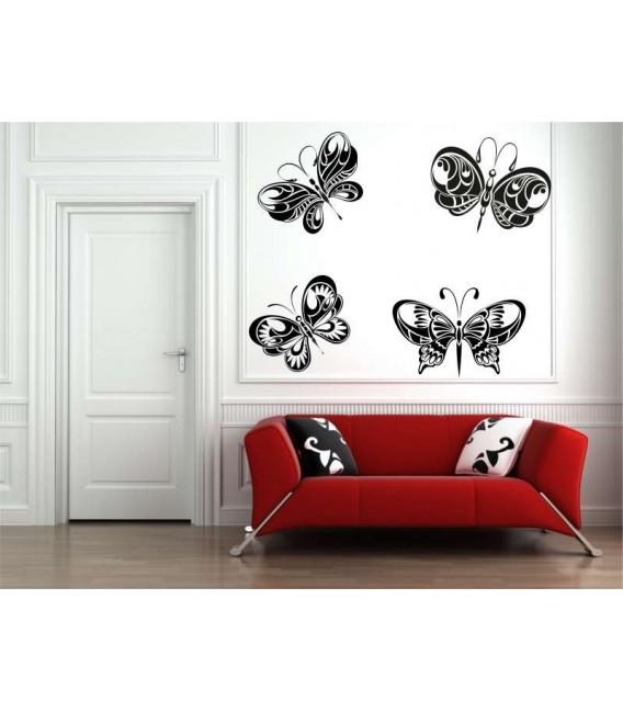 Four big butterflies wall sticker, butterflies wall decal.