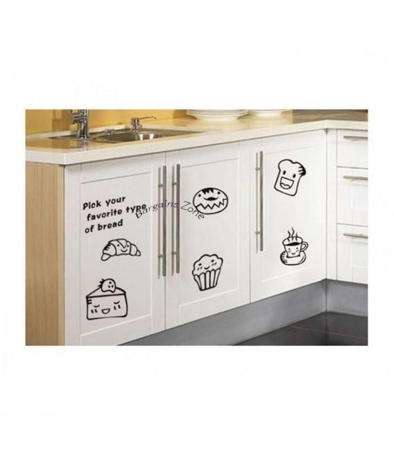 Stylish bread kitchen door cabinets stickers set.