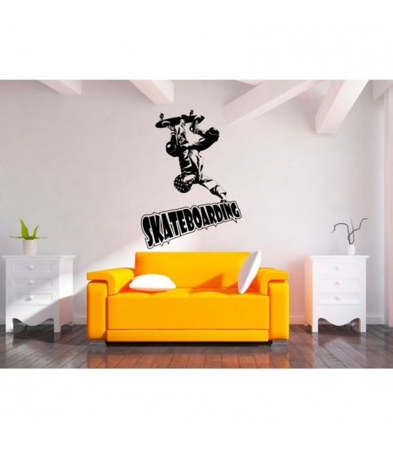 Skateboarder bedroom wall art sticker.