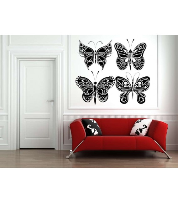Four big butterflies wall decals, butterflies wall stickers.