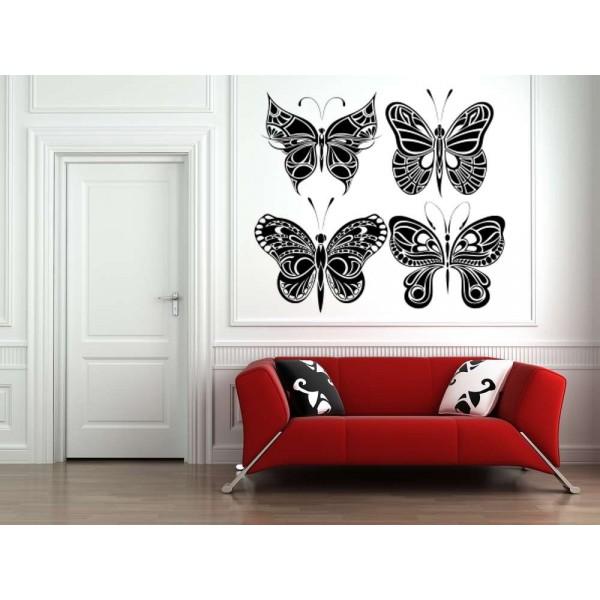 Four big butterflies wall decals, butterflies wall stickers.