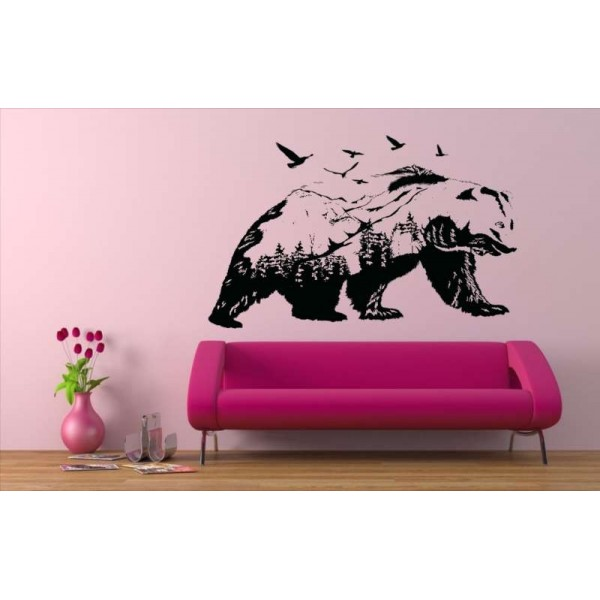 The bear mountain landscape lounge wall sticker.