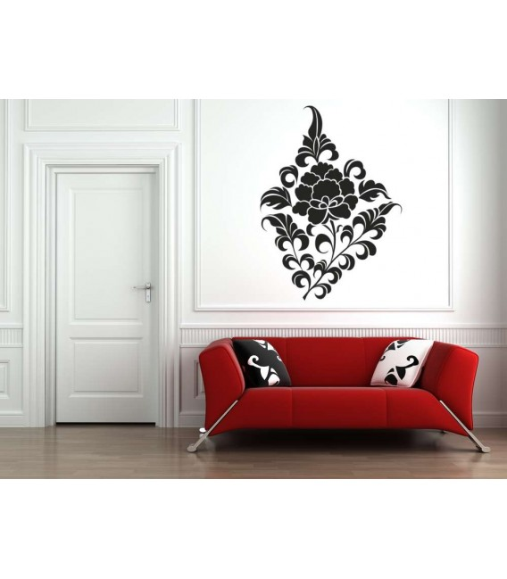 Art flower pattern wall decal, living room wall sticker.