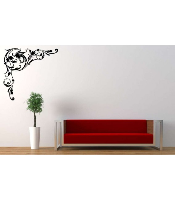 Flower corner wall decal living room art decoration.
