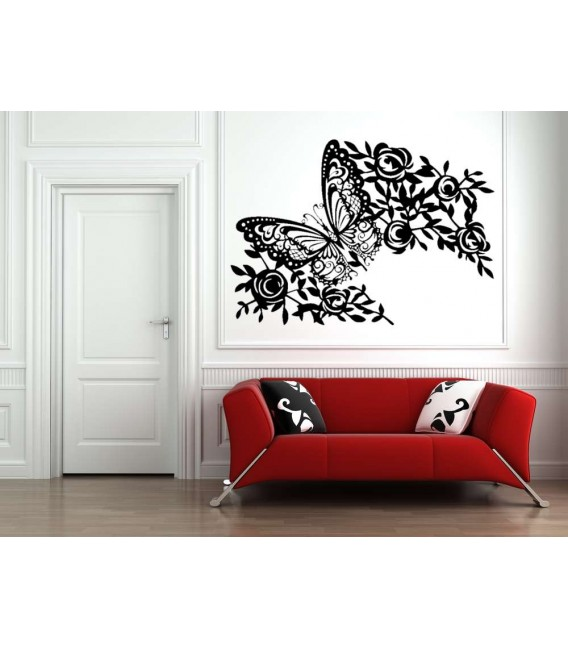 Large butterfly wall art stickers, butterfly and flowers wall decals.