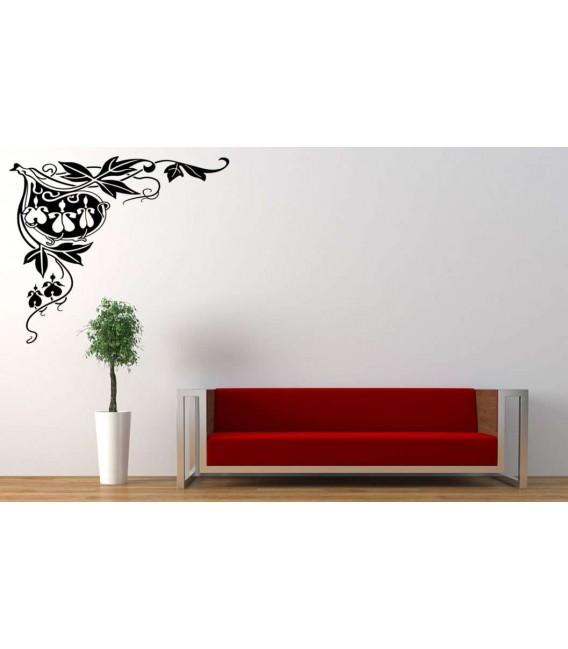 Corner piece flower art vinyl wall stickers, wall decals.