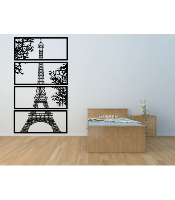 Eiffel Tower city skyline wall art sticker.